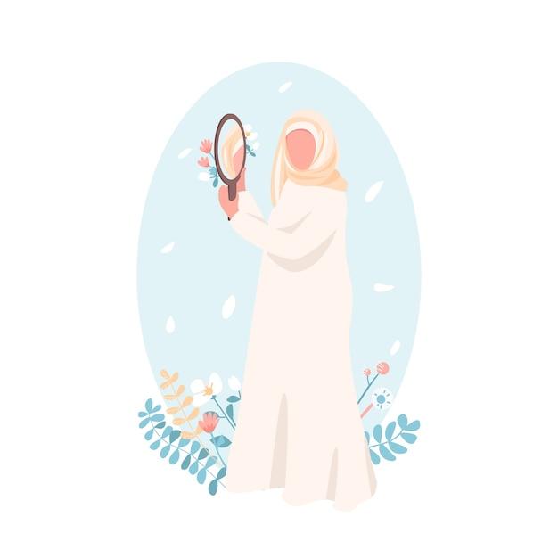 Zuversichtlich muslimisches mädchen flache farbe gesichtslosen charakter. frauenförderung. selbstakzeptanz für frau. selbstliebe isolierte karikaturillustration Premium Vektoren