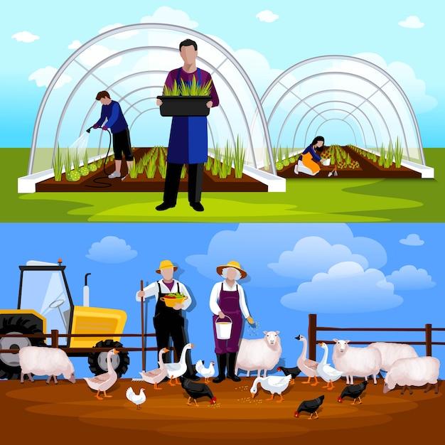 Zwangstunnel, der gärtner und schafe planiert Kostenlosen Vektoren