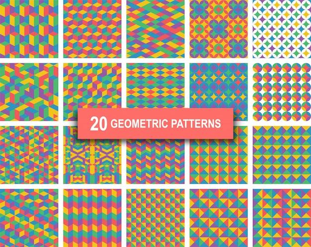Zwanzig pastell farbe geometrische muster hintergrund Premium Vektoren