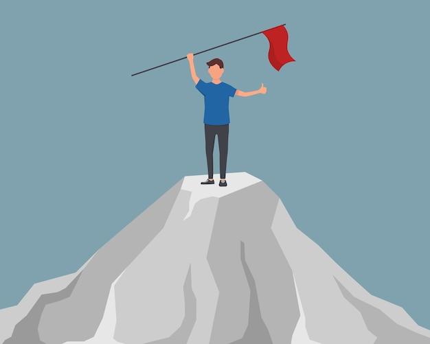 Zweckmäßiger geschäftsmann mit flagge in der hand. beginn des weges zur zielerreichung. der charakter der geschäftsfrau hisste die rote fahne auf dem berggipfel. Premium Vektoren