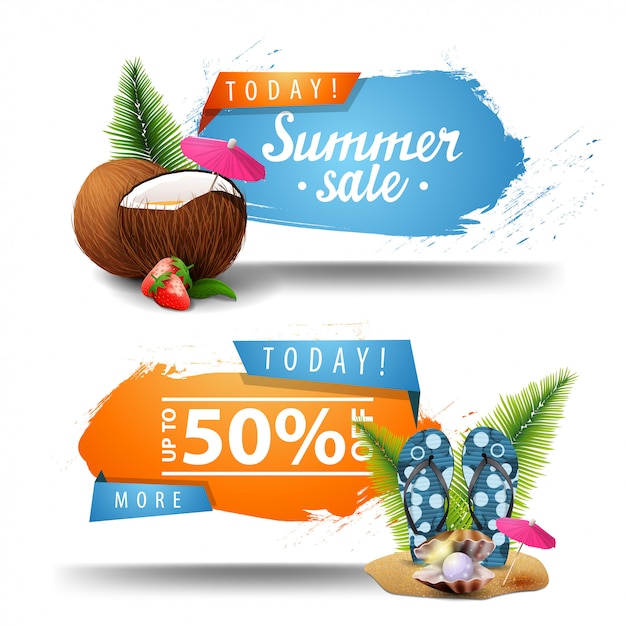 Zwei anklickbare banner für den sommerschlussverkauf Premium Vektoren