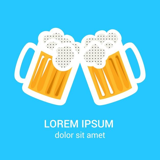 Zwei biergläser becher plakat Premium Vektoren