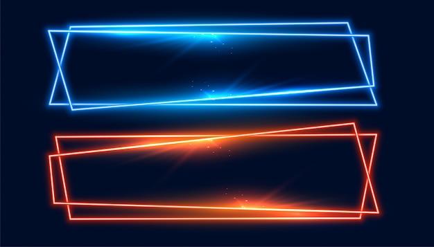 Zwei breite neonrahmen banner in blau und orange farbe Kostenlosen Vektoren