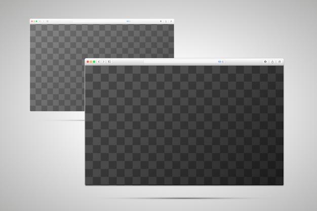 Zwei browserfenster mit transparentem platz für den bildschirm Premium Vektoren