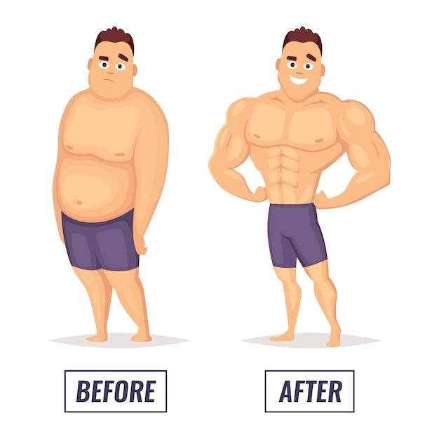 Zwei charaktere fett und muskulöser mann. Premium Vektoren
