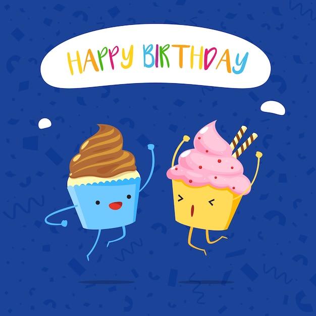 Zwei Cupcakes Prost Am Geburtstag Download Der Premium Vektor