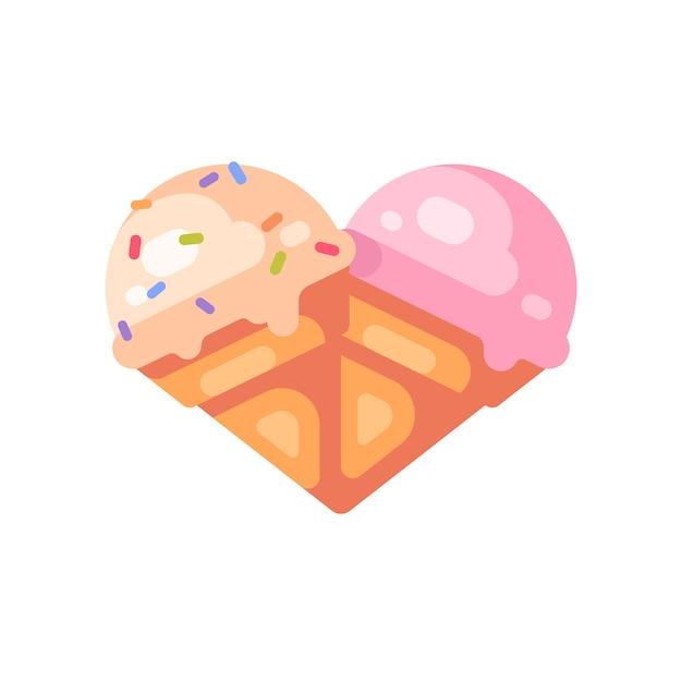 Zwei eistüten in form eines herzens. flache ikone der vanille- und kirscheiscreme Premium Vektoren