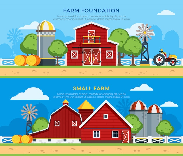 Zwei farm flat horizontal banner Kostenlosen Vektoren