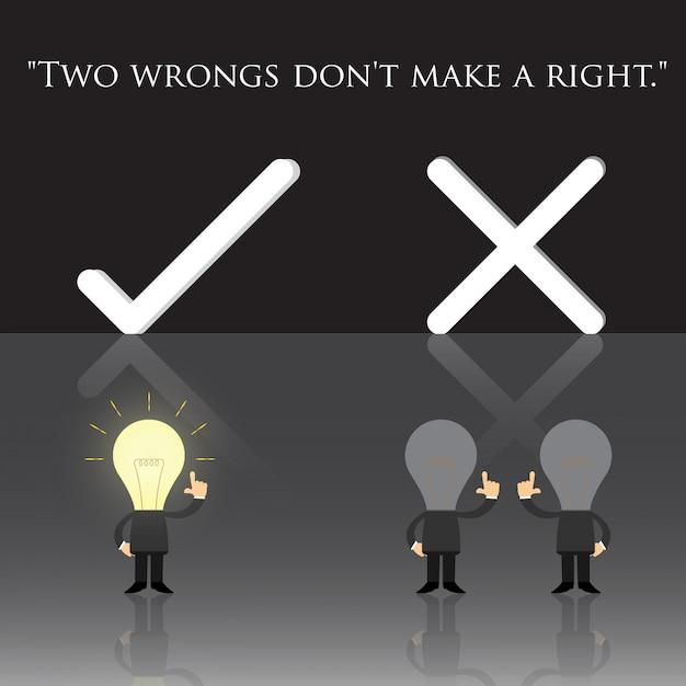 Zwei fehler machen kein recht Premium Vektoren