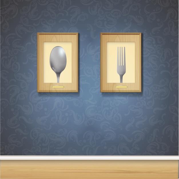 zwei frames auf dunkle wand download der kostenlosen vektor. Black Bedroom Furniture Sets. Home Design Ideas