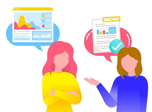 Zwei frauen, freunde, die miteinander über arbeitsprojekte und dokumentation sprechen Premium Vektoren