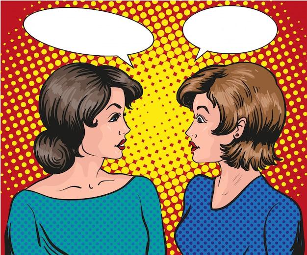Zwei frauen reden miteinander. sprechblase. Premium Vektoren