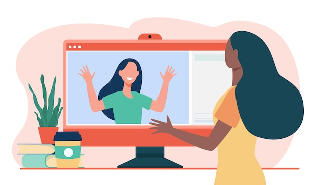 Zwei frauen video-chat über computer. monitor, freund, entfernung flache vektor-illustration. kommunikation und digitale technologie Kostenlosen Vektoren