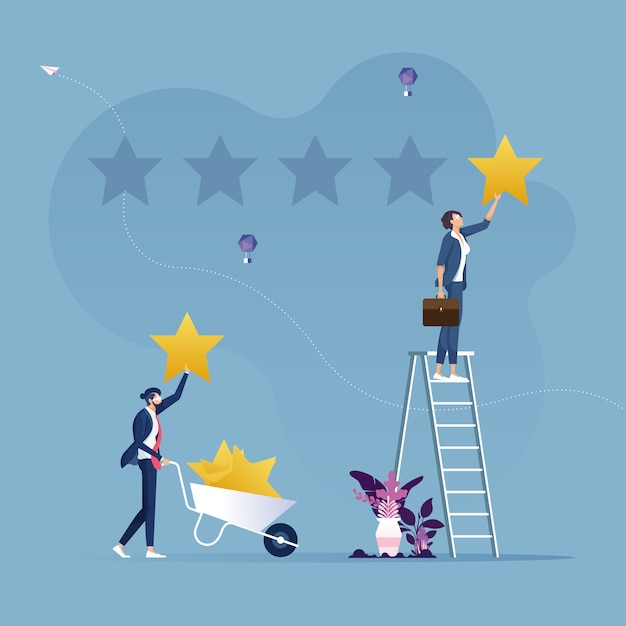 Zwei geschäftsleute geben sterne bewertung-kundenbewertungskonzept Premium Vektoren