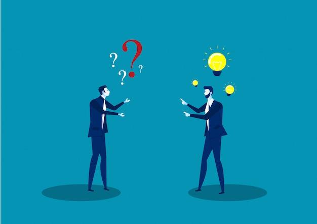 Zwei geschäftsleute teilen die idee des positiven denkens Premium Vektoren