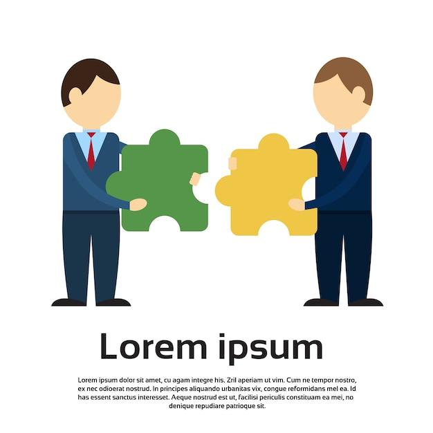 Zwei geschäftsmann-puzzlespiel-teile, teamwork-erfolg Premium Vektoren