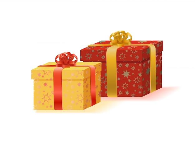 Zwei geschenkboxen mit bändern und bogenillustration Premium Vektoren