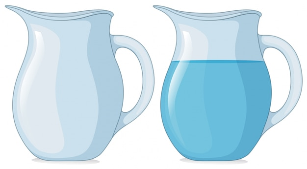 Zwei gläser mit und ohne wasser Kostenlosen Vektoren