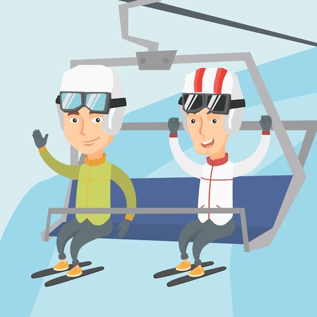 Zwei glückliche skifahrer, die kabelbahn am skiort verwenden. Premium Vektoren