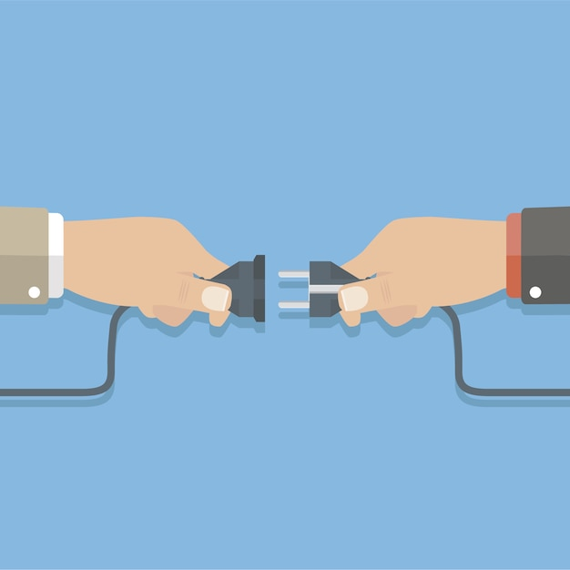 Zwei hände stecken Kostenlosen Vektoren
