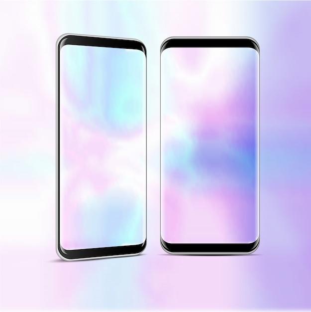 Zwei hoch detaillierte realistische smartphone mit transparentem bildschirm Premium Vektoren