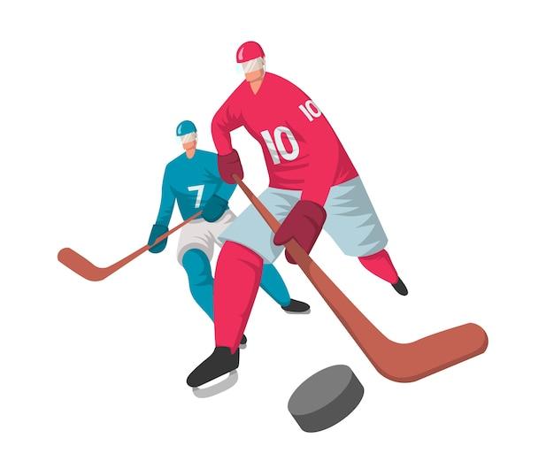 Zwei hockeyspieler im abstrakten flachen stil. , isoliert auf weißem hintergrund. Premium Vektoren