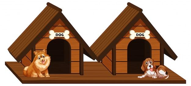 Zwei hölzerne hundehütten mit hunden Kostenlosen Vektoren