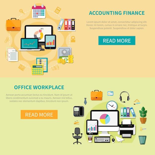 Zwei horizontale fahnen mit elementen des büroinnenraums Kostenlosen Vektoren