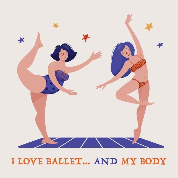 Zwei hübsche frauen, ballerinas in badeanzügen, eine schlanke andere mollig, tanzendes ballett, körperbeherrschung und selbstakzeptanz Premium Vektoren