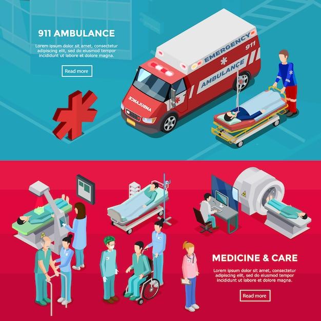 Zwei isometrische krankenhaus-horizontale fahnen Kostenlosen Vektoren