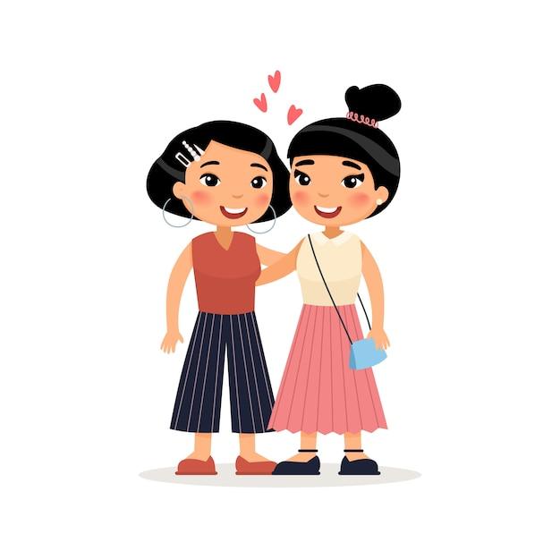 Zwei junge asiatische freundinnen oder lesbisches paarumarmen lustige zeichentrickfilm-figur. Premium Vektoren
