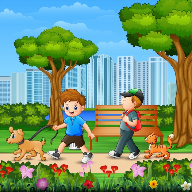 Zwei jungen, die mit ihrem hund in der parkstadt gehen Premium Vektoren