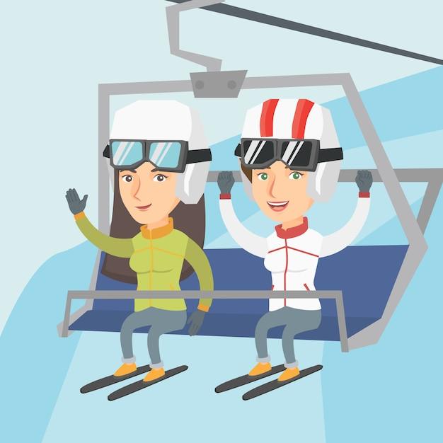 Zwei kaukasische skifahrer, die kabelbahn am skiort verwenden. Premium Vektoren