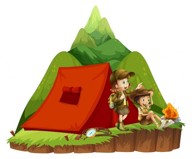 Zwei kinder, die draußen in den bergen kampieren Kostenlosen Vektoren