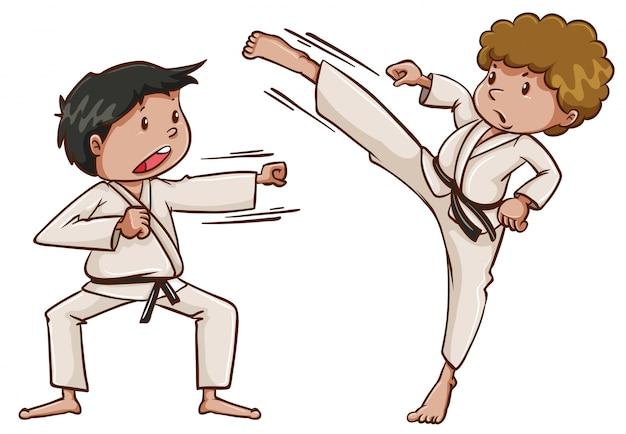 Zwei kinder, die karate spielen Kostenlosen Vektoren