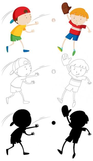 Zwei kinder spielen baseball in farbe und in umriss und silhouette Kostenlosen Vektoren