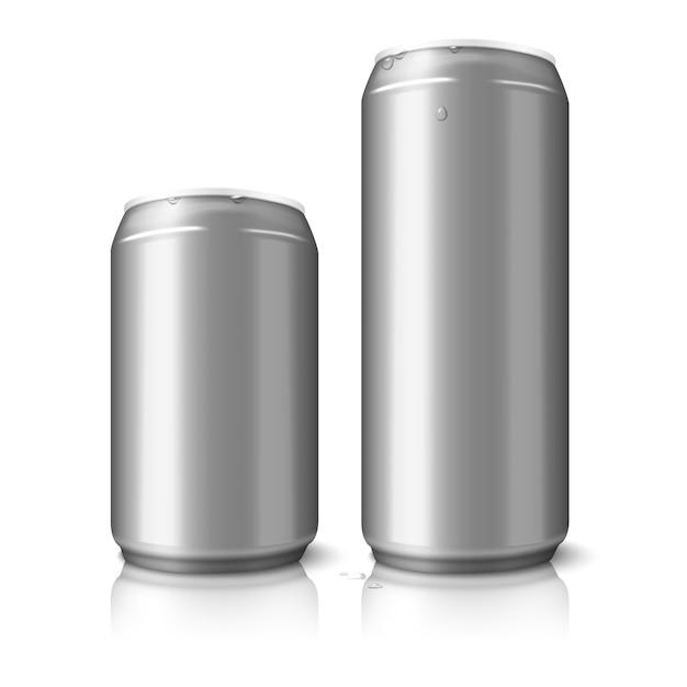 Zwei leere aluminiumbierdosen Premium Vektoren