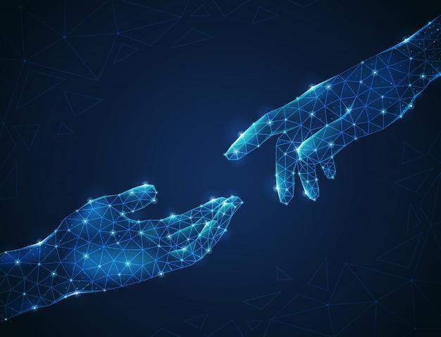 Zwei leuchtende polygonale menschliche drahtgitterhand, die sich aufeinander zu strecken Kostenlosen Vektoren