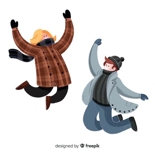 Zwei leute, die das winterkleidungsspringen tragen Kostenlosen Vektoren
