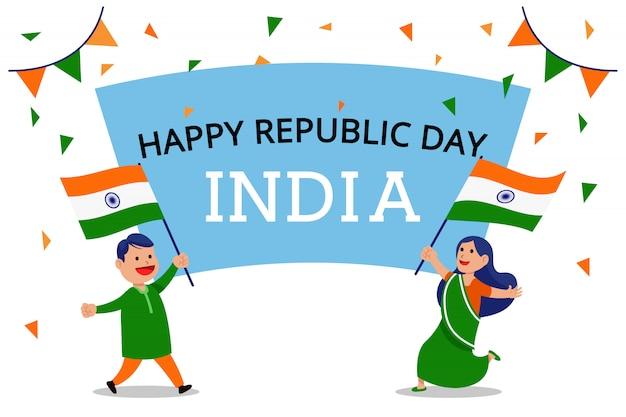 Zwei leute, die flagge wellenartig bewegen, feiern indien-tag der republik Premium Vektoren