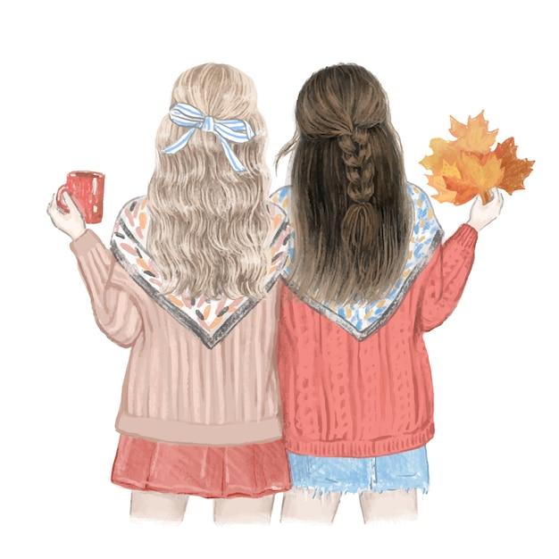 Zwei mädchen, beste freunde im herbst. hand gezeichnete illustration. Premium Vektoren