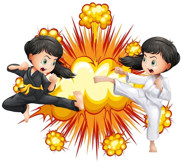Zwei mädchen im kung fu outfit kämpfen Kostenlosen Vektoren