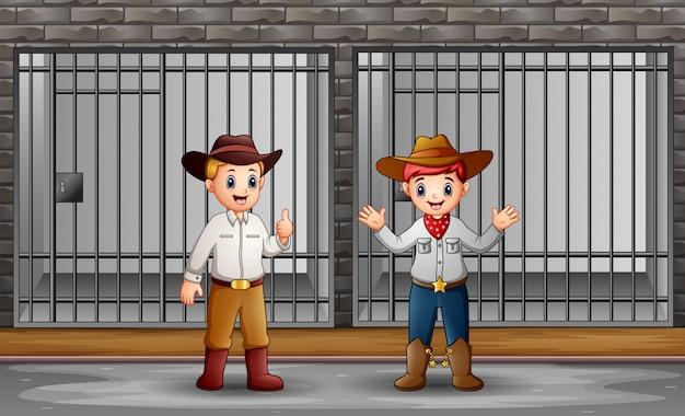 Zwei männer bewachen eine gefängniszelle Premium Vektoren