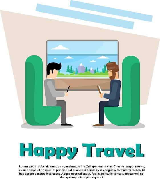 Zwei mann im zug fach urlaub urlaub reise banner Premium Vektoren