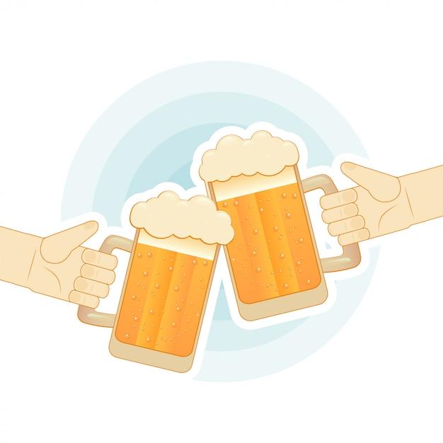 Zwei menschliche hände, die mit den bierkrügen rösten. flache illustration für bar Premium Vektoren