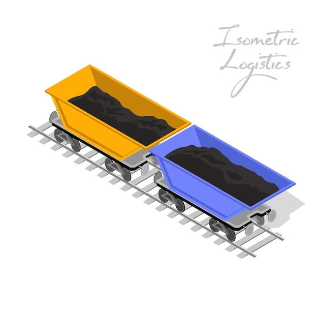 Zwei minenwagen, gelb und blau, sind auf der eisenbahn. Premium Vektoren