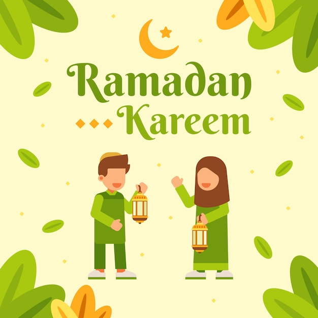 Zwei moslemische kinder in ramadan kareem background Premium Vektoren