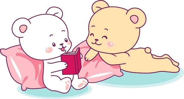 Zwei niedliche bären, die ein buch lesen Premium Vektoren