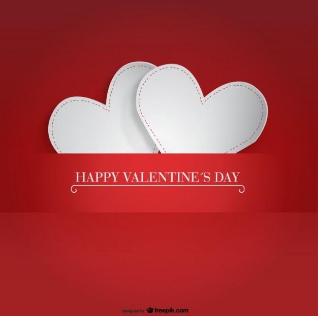 Schön Zwei Papierherzen Design Für Valentinstag Karte Kostenlose Vektoren