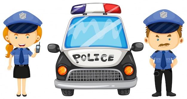 Zwei polizisten durch das polizeiauto Premium Vektoren